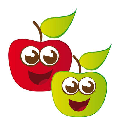 cute apple cartoons isolated over white background. vector Vector