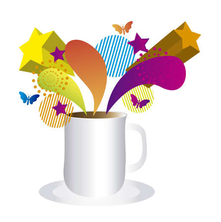 colorful coffee surprise isolated over white background. vector Stock Vector - 10851288