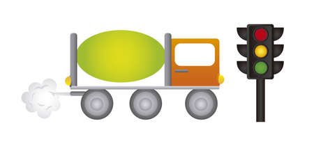 truck and semaphore cartoons isolated over white background. vector Stock Vector - 10851221