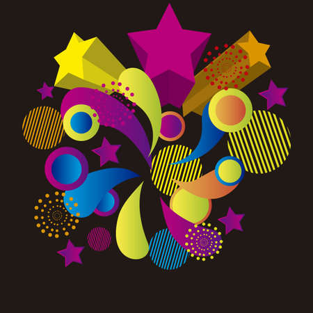 colorful surprise isolated over black background. vector Stock Vector - 10851304