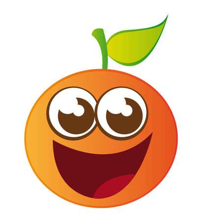 naranja caricatura: dibujos animados de color naranja aislada sobre fondo blanco. vector
