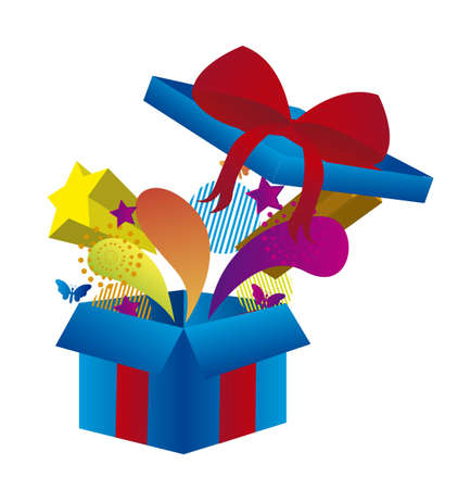 cute gift box isolated over white background. vector Stock Vector - 10851291