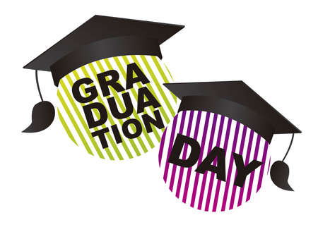 commencement exercises: illustration graduation day isolated over white background. vector Illustration