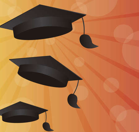 commencement: black graduation with space advertising over orange background. vector