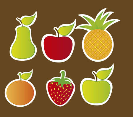 cute fruits isolated over brown background. vector Stock Vector - 10942508