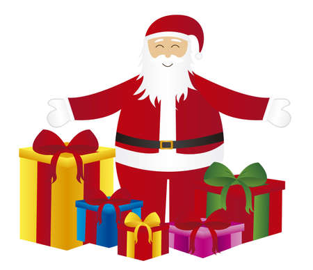santa claus cartoon with gifts isolated over white background. vector Vector