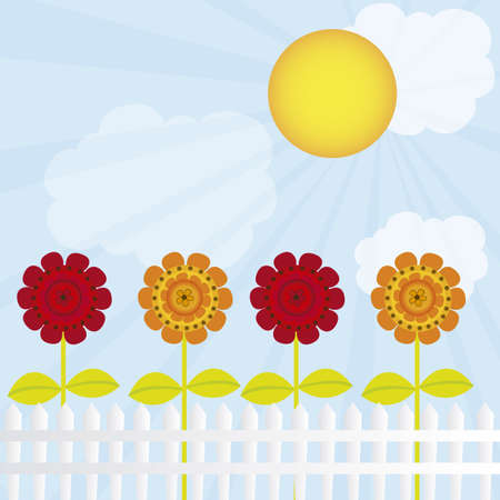 cute flowers  over sky  with clouds ad sun background. vector Vector