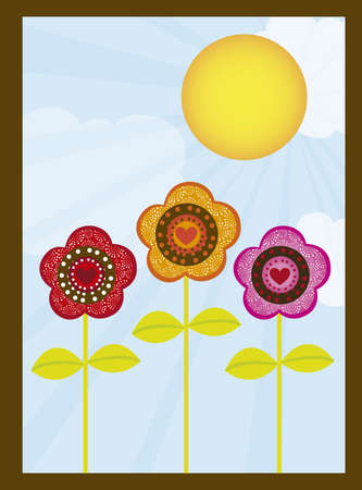 cute flowers with hearts over sky with sun background. vector Vector
