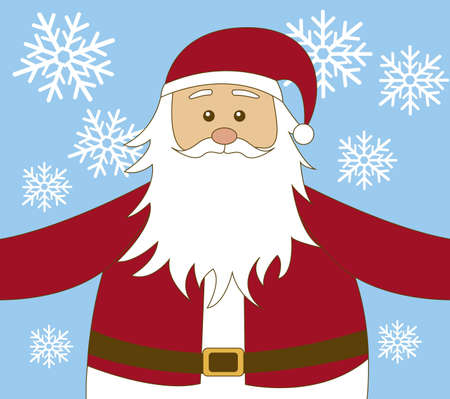 yea: santa claus cartoon  with snowflakes background. vector
