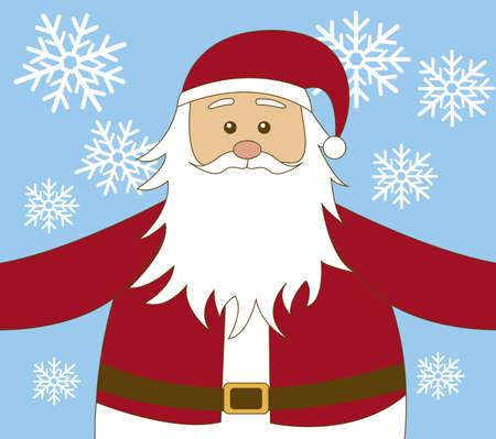 new yea: Santa Claus de dibujos animados con el fondo de los copos de nieve. vector