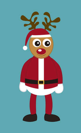 reindeer with santa claus costume with cartoon isolated. vector Vector