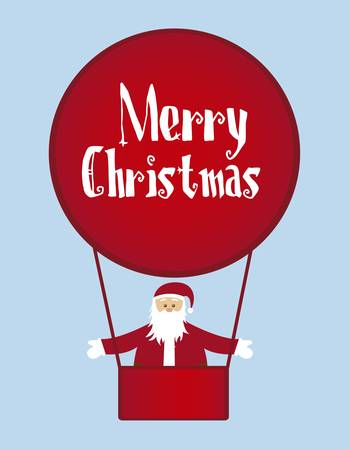 santa claus with air balloons isolated over blue background. vector Vector