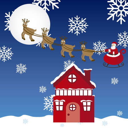 night landscape christmas with sleigh and snowflakes. vector Stock Vector - 10942506