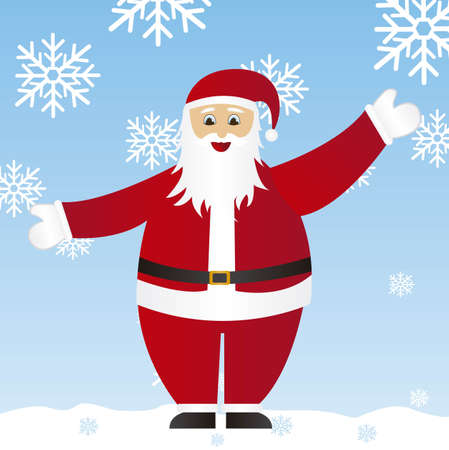 santa claus cartoon  with snowflakes background. vector  Stock Vector - 10942501