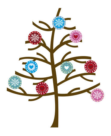 cicles: tree with cute christmas balls  isolated over white background. vector