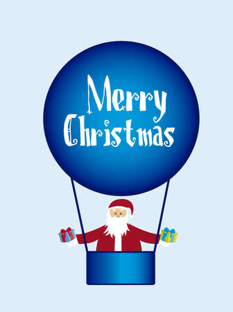 santa claus over air balloons with gifts isolated over blue background. vector Vector