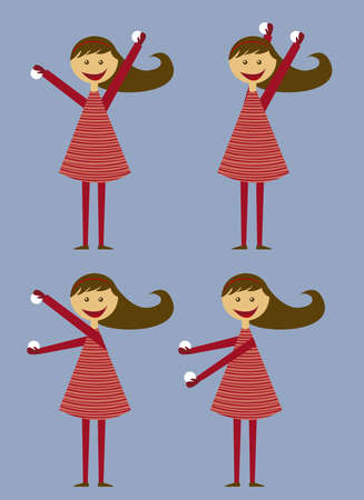 child girl  throwing snow with red dress isolated. vector Vector