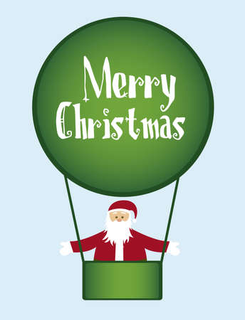 santa claus over green air balloons  isolated over blue background. vector Vector