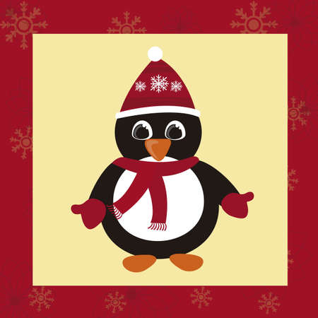 penguin christmas cartoon card with red background. vector Vector