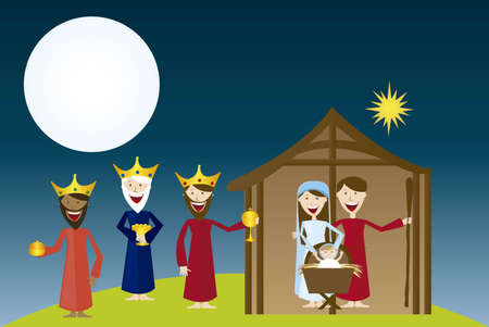 manger with magi over ladscape night. vector Vector