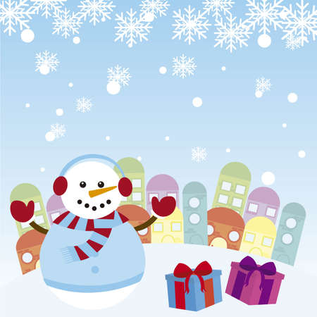 snowman with gifts over winter landscape. vector Stock Vector - 11017986