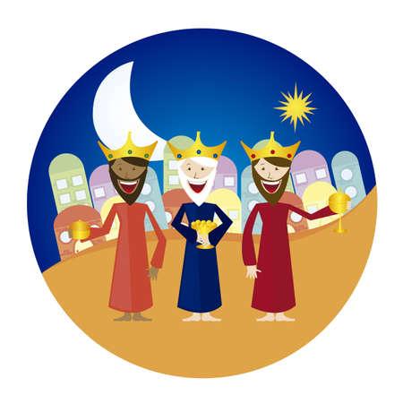 reyes magos: tres Reyes Magos caricatura con etiqueta de c�rculo aislada sobre fondo blanco. Vector Vectores
