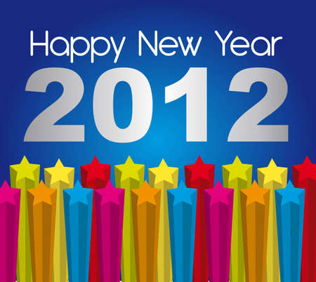 happy new year 2012 with stars over blue background. vector Stock Vector - 11017976