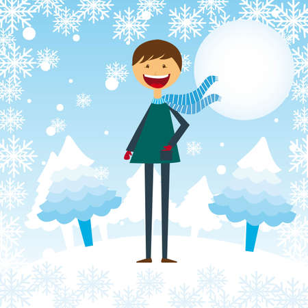 child boy cartoon in the snow with tree background. vector Vector