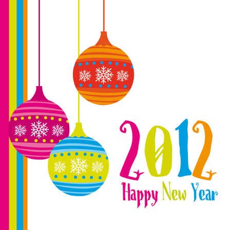 new year card 2012 with christmas balls. vector Vector