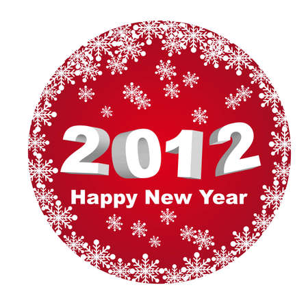 red circle happy new year 2012 isolated over white background. vector Stock Vector - 11018003