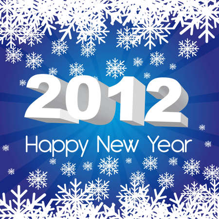 2012 new year, blue background with snowflakes. vector Vector