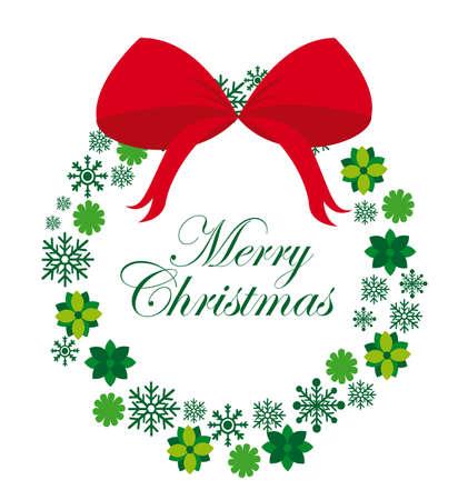 wreath vector: green Advent wreath with rew bow isolated. vector