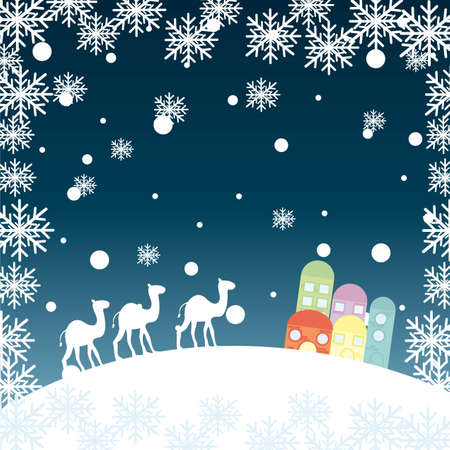 frankincense: christmas landscape with camels, snowflakes and houses. vector Illustration