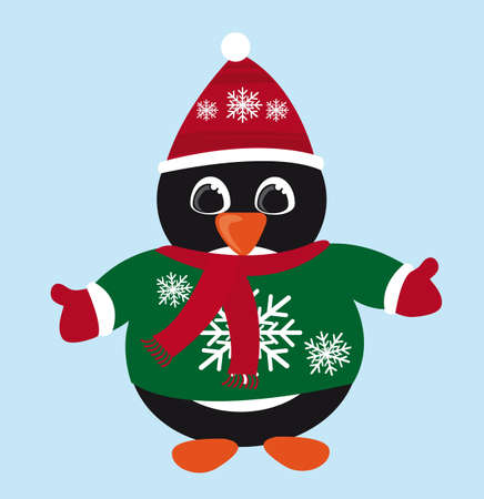penguin christmas cartoon isolated over blue background. vector Vector