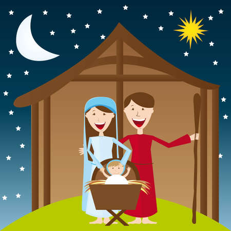 cute manger over night landscape with moon and star. vector Vector