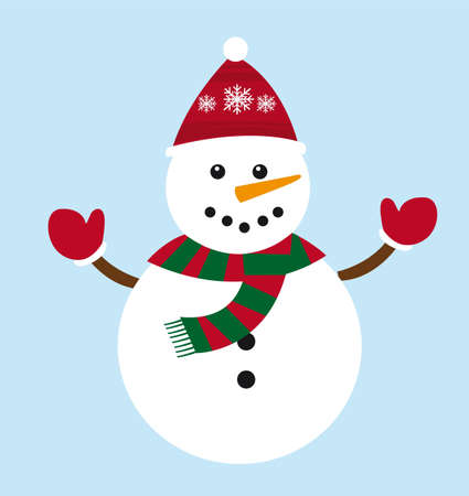 cute snowman cartoon isolated over blue background. vector Vector