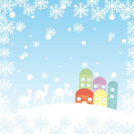 winter landscape with camels, houses and snowflakes. vector Stock Vector - 11017994