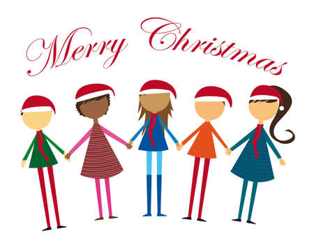 hispanics: childrens holding hands with hat christmas. vector