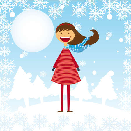 child girl over winter landscape with tree and moon. vector Stock Vector - 11017991