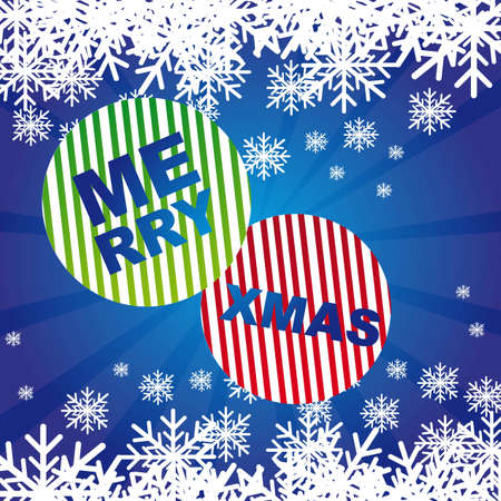 merry xmas with snowflakes over blue background. vector Stock Vector - 11017993