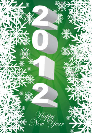 2012 green card with snowflakes background. vector Stock Vector - 11017989