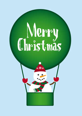 snowman over green air balloons  isolated over blue background. vector Vector
