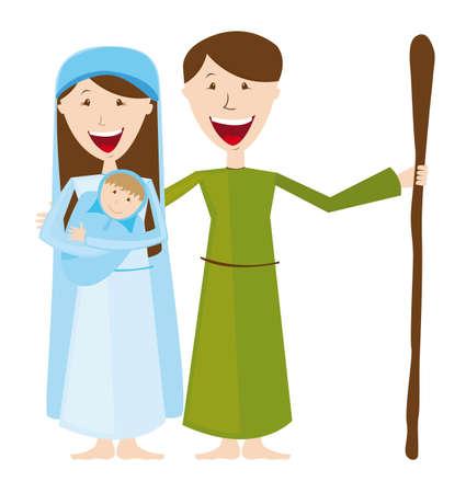 pesebre: Virgen María, San José y el niño Jesús aislaron. Vector