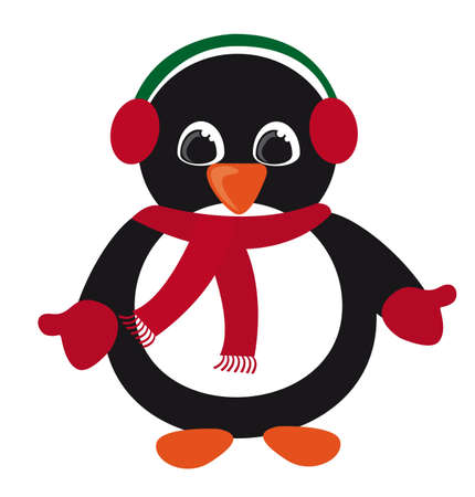 penguin christmas isolated over white background. vector Vector
