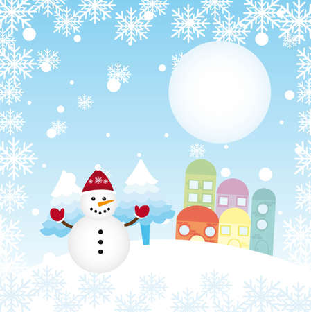 christams: christams landscape with cute snowman and houses. vector