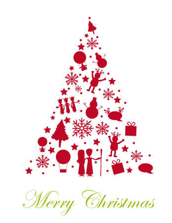 silhouette tree christmas isolated over white background. vector  Illustration