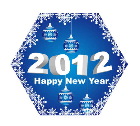 2012 happy new year with christmas balls isolated. vector Stock Vector - 11017995