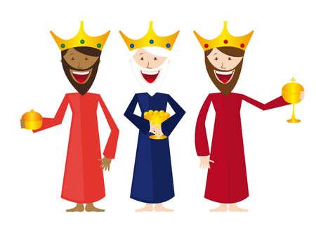 reyes magos: dibujos animados magos aisladas sobre fondo blanco. vector Vectores
