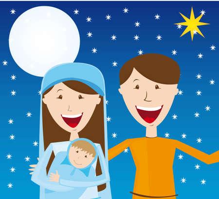 Vierge Marie, saint Joseph et l'enfant Jésus pendant la nuit. vecteur