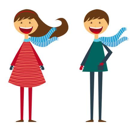 niño y niña: niñas niños y dibujos animados chico aislado sobre fondo blanco. vector Vectores